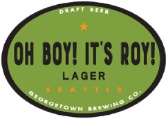Oh Boy It's Roy Lager tap label