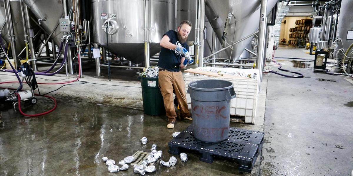 Brewer Zach opens 12 ounce cans unsuitable for sale for recycling