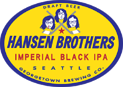 Hansen Brothers Imperial Black IPA tap label