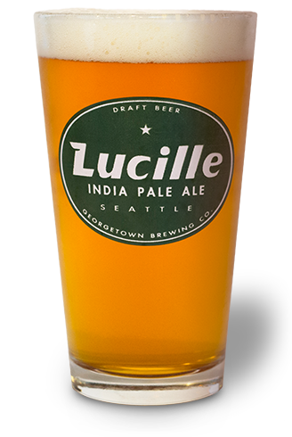 glass of lucille beer in glass with lucille logo