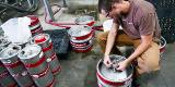 Brewing Manager Tom removes the stem valve from a keg so he can use it as a cask