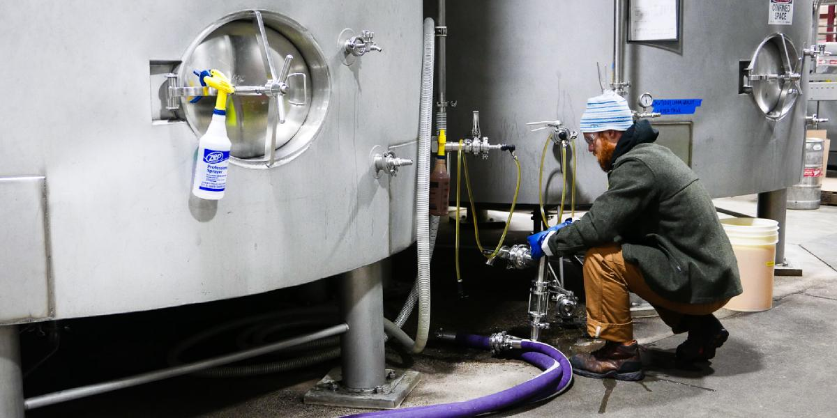 Brewer Travis takes beer from a fermenting tank for lab testing
