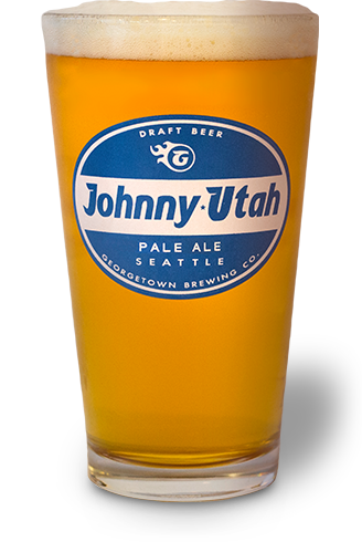 glass of Johnny Utah beer in a glass with Johnny Utah logo